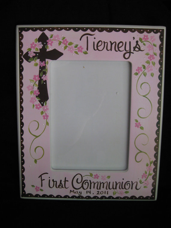 Communion Pink and Brown vertical Picture frame 5x7