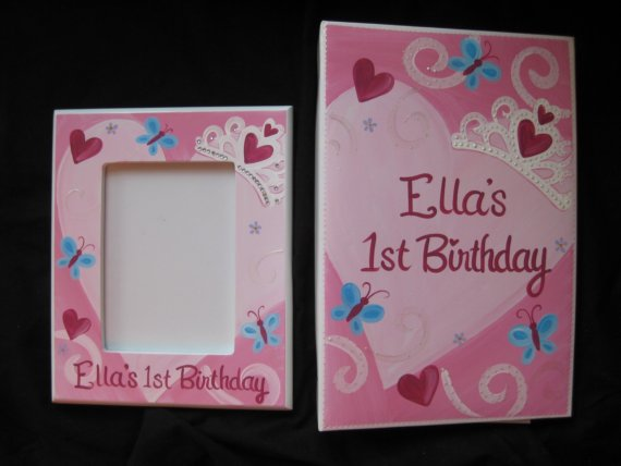Princess Heart Birthday Photo Album and Picture Frame