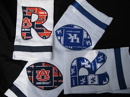 Initial Burp Cloth set of three favorite team rivals