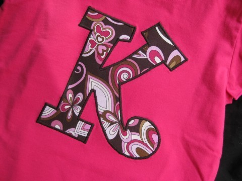 Initial Shirt Pink and Brown Funky Flower