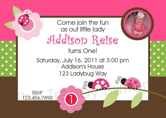 Invitation Print Yourself Addison Ladybug Photo