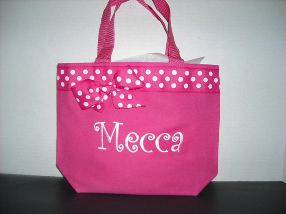 Personalized Small Tote Bag Pink and White