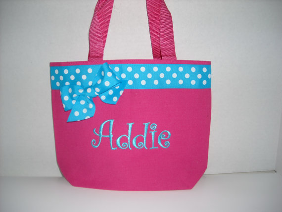 Personalized Small Tote Bag Pink with Blue