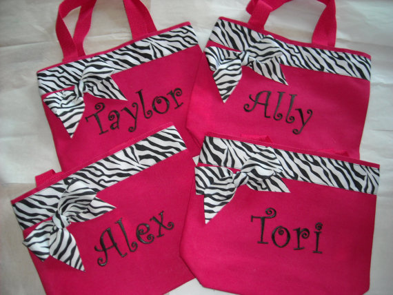 Personalized Small Tote Bag Zebra Trim