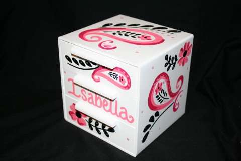Jewelry Box pink and black paisley