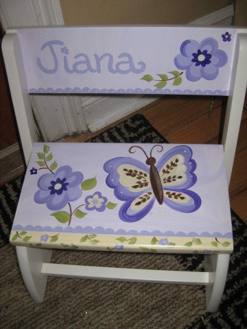 Chair Flip Step Stool Lavendar Butterfly