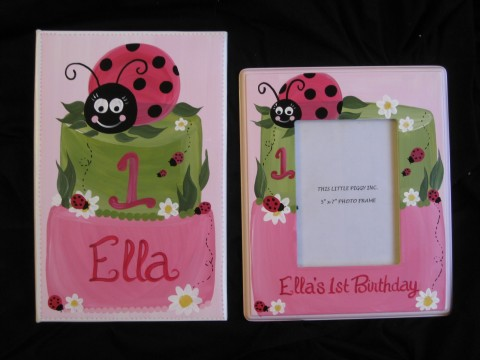 Photo Album Pink and 5x7 Picture Frame Ladybug Cake