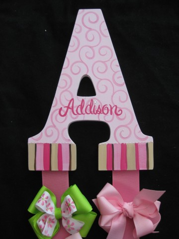 Letter Bow Holder Swirls and Stripes Addison
