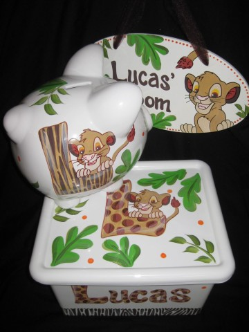 Gift set Lion King Piggy Bank, Junk box and Door Sign