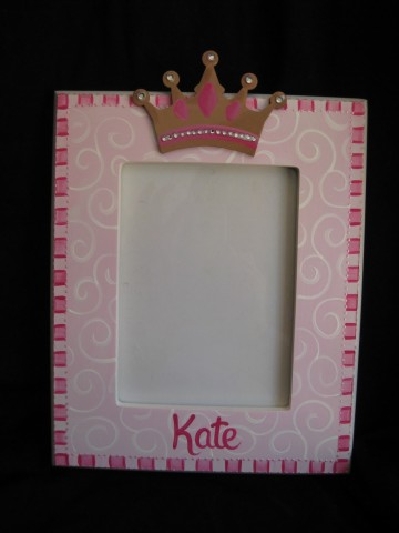 Picture Frame 5x7 Magenta Crown Bling