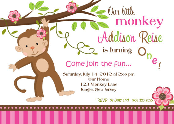 Invitation Print Yourself Girl Monkey