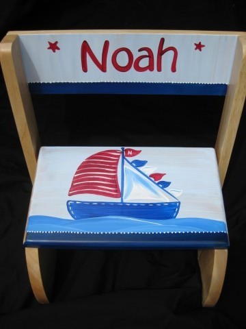 Chair Flip Step Stool Red and Blue Nautical