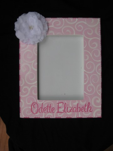 Picture Frame 5x7 White Bling Flower