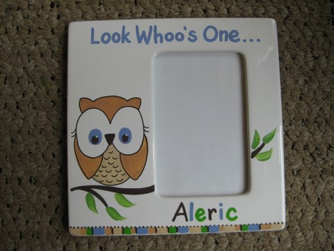 Picture Frame 5x7 Ceramic Boy Happy Owl