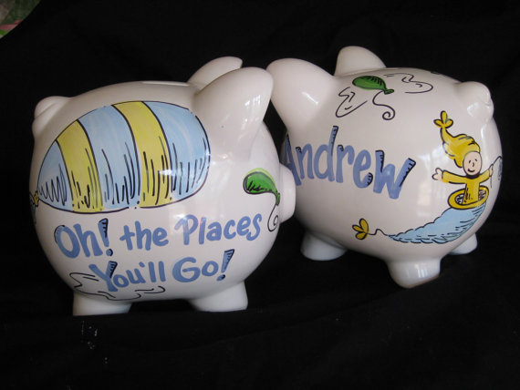 Piggy Bank Oh the Places You'll go... Boy version