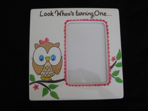 Picture Frame 5x7 Ceramic Fun Owl