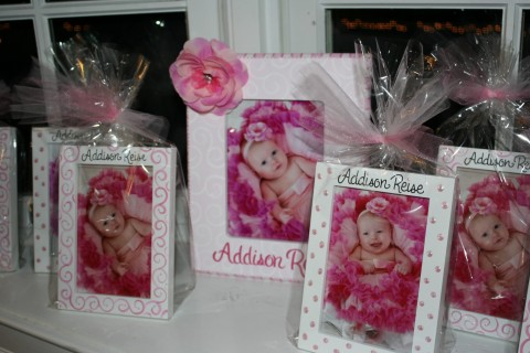 Party Favor Picture Frames White Dots and Swirls