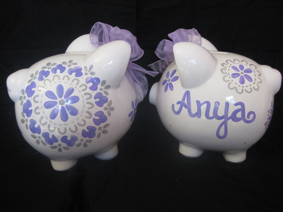 Piggy Bank Dahlia lavendar and grey