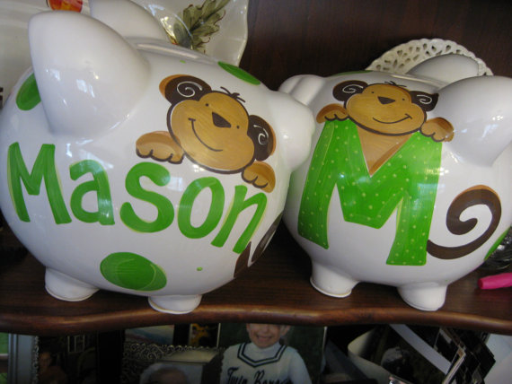 Piggy Bank Initial Monkey