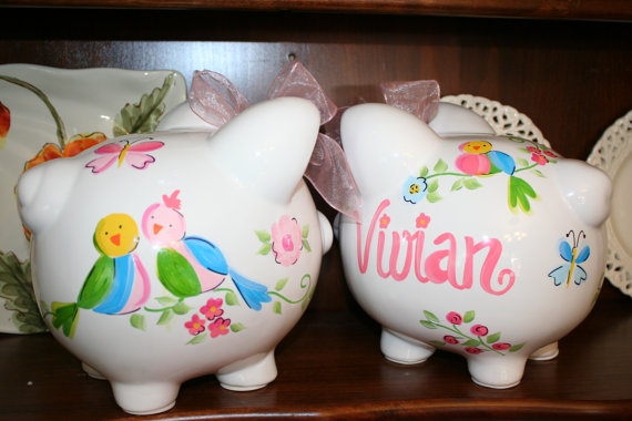 Piggy Bank Lov Birds Shabby
