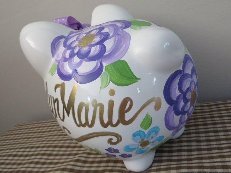 Piggy Bank Gold purple floral