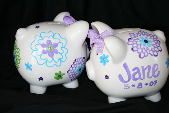 Piggy Bank Light Blue and Purple Fun Flowers