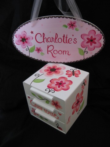Jewelry Box and Door Sign Pink Flowers