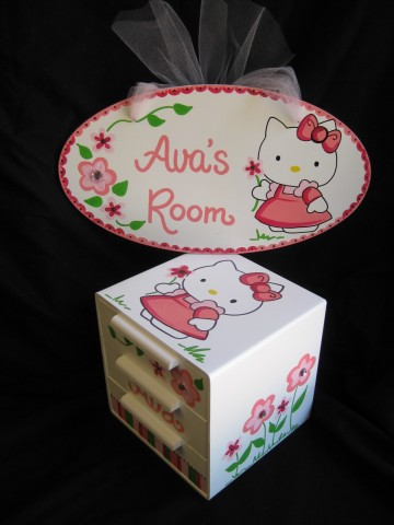 Jewelry Box and Door Sign Hello Kitty Pink and Brown