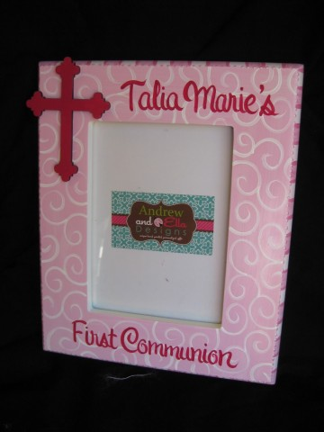 Picture Frame 5x7 Pink Scroll Cross