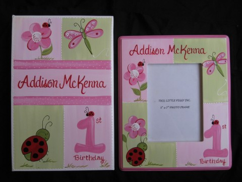 Photo Album Pink and 5x7 Picture Frame Red Ladybug First Birthday