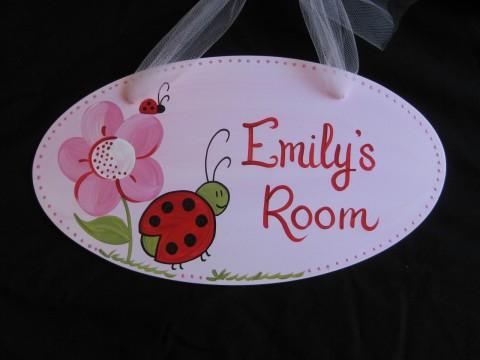 Door Sign Hanging Red Ladybug