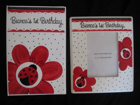 Photo Album and 5x7 Picture Frame Red and Black Ladybug