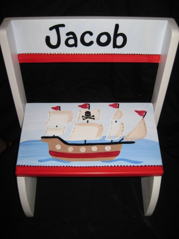 Chair Flip Step Stool Red Pirate