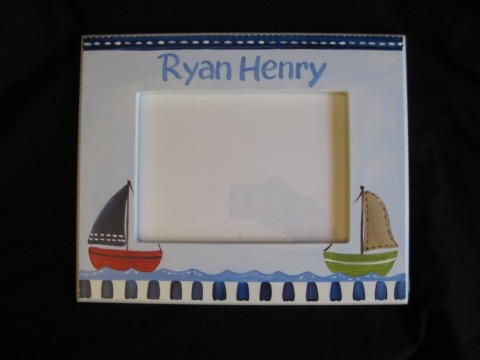 Picture Frame Navy Sailboats