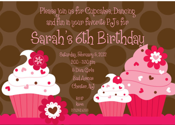 Invitation Print Yourself Srah Cupcake