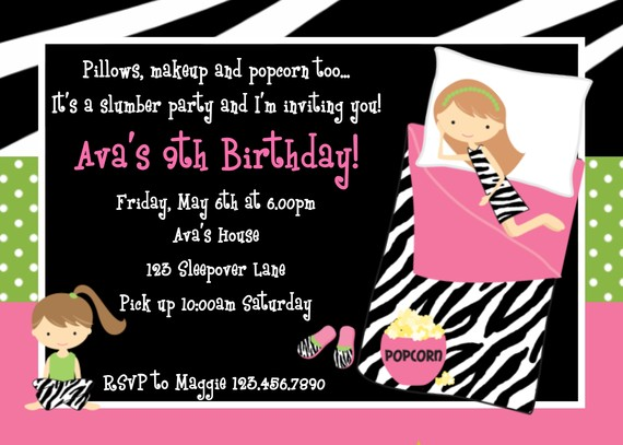 Invitation Print Yourself Sleepover