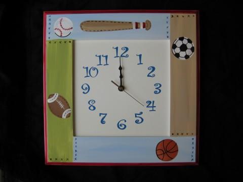 Wood Wall Clock Vinatage Sports