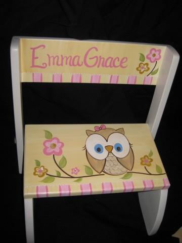 Chair Flip Step Stool Yellow Fun Owl