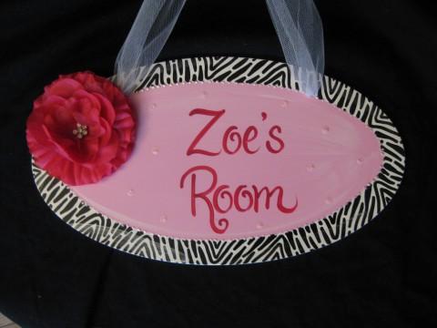 Door Sign Zebra Bling Flower